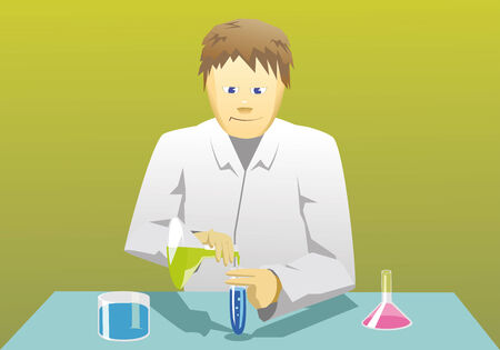 Young scientist is mixing chemical stuff Vector