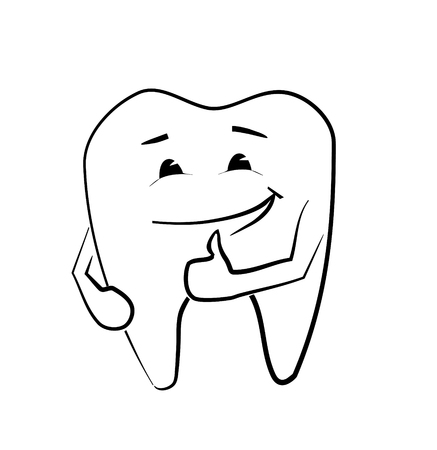 Hand drawn vector illustration of a smiling tooth Vector