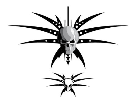 vector illustration of a skull with blades Vector