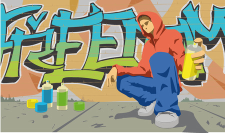 This is a vector illustration of graffiti writer Stock Vector - 5821893