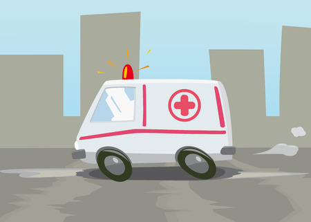 this is a vector illustration of high-speed ambulance
