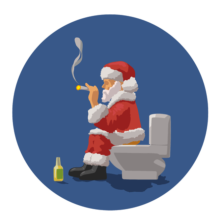 toilet bowl: Santa sits on a toilet bowl, drinks beer and smokes a cigarette Illustration
