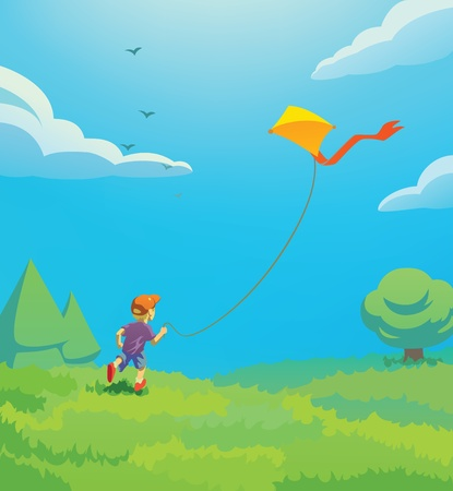 凧と一緒に遊んで子供のイラスト  イラスト・ベクター素材
