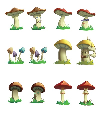 Illustraion of mushrooms  Normal and cartoonie versions Stock Vector - 14474405
