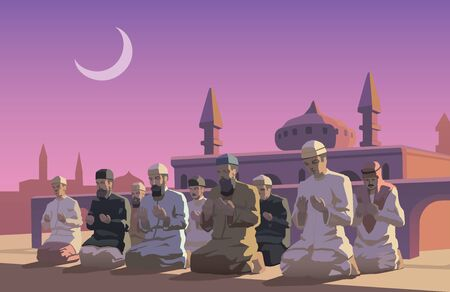 pray: This is an illustraion of Ramadan holiday