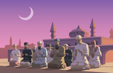 muslim pray: This is an illustraion of Ramadan holiday