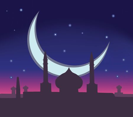 silhoette: This is an illustraion of Ramadan holiday