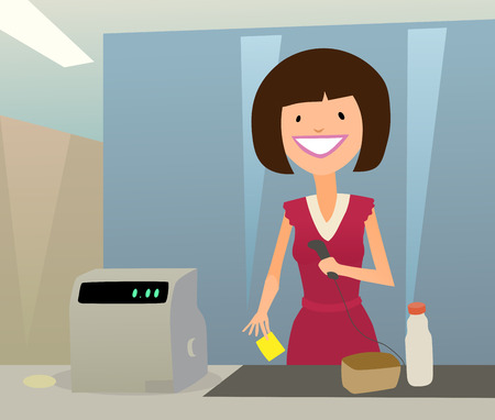 cashier woman Vector