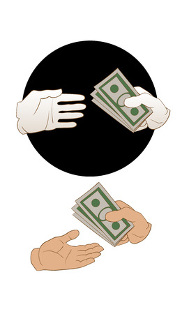 giving money: illustration of a giving money process Illustration