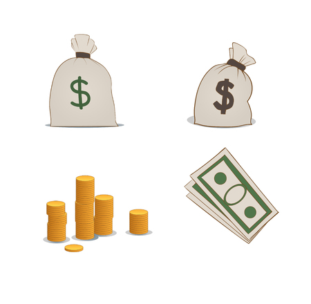 greenbacks: a set of coins, moneybags and greenbacks
