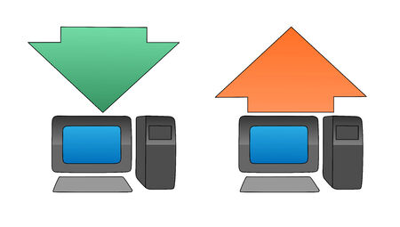 this ia uploading and downloading concept icons Vector