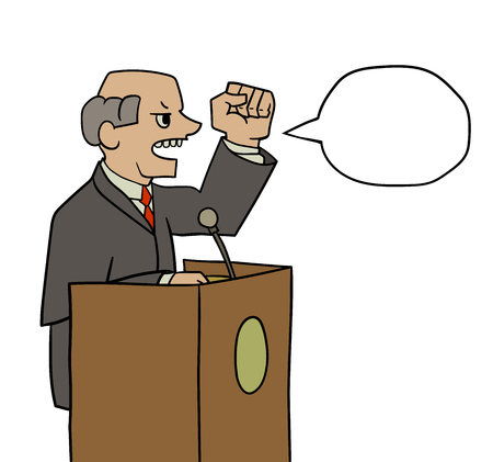 ideology: illustration of politician saying loud speech