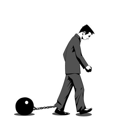 Illustratie van een man vastgeketend aan zware Stock Illustratie
