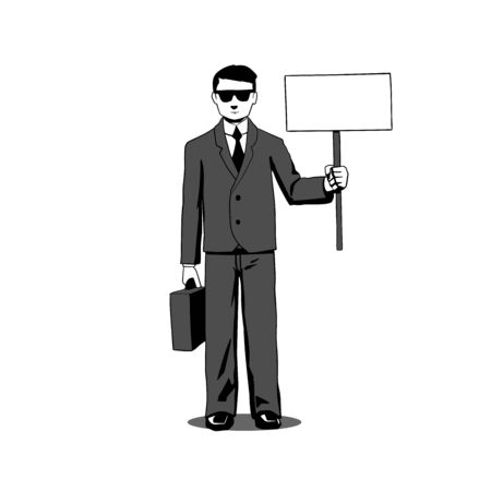 illustration of a lawyer agent, businessman with signboard  Vector