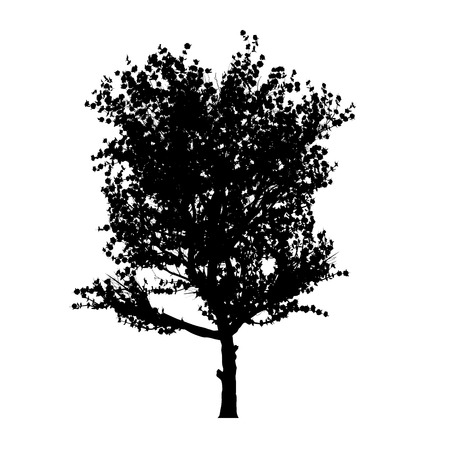 this is a red apple tree silhouette  White-space shapes beetween branches