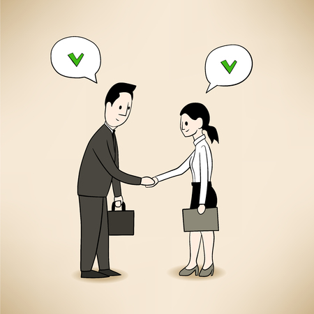this is illustration of achieved agreement beetween two people Vector