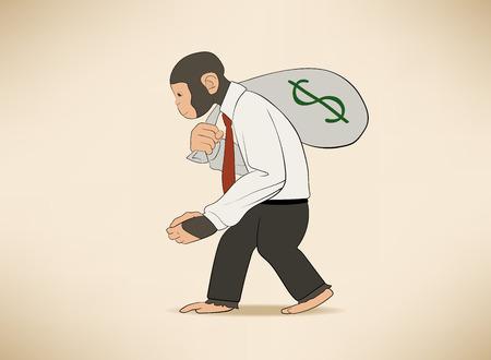 これはお金の袋を持つ猿のイラスト