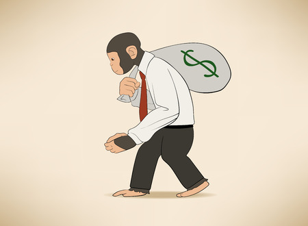 This is an illustration of Monkey with money sack Иллюстрация