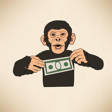 これは、ドルと猿のイラスト