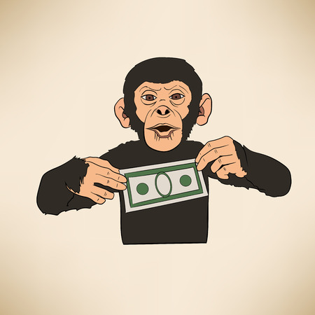 This is an illustration of monkey with dollar