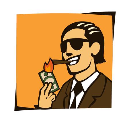 businessman who lights a cigar with dollar Vector