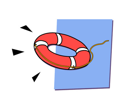 This is an illustration of flying lifebuoy Vector