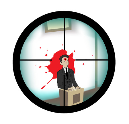 shoots:  this is illustration about sniper who shoots through scope