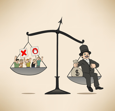 desigualdad: Esta es una ilustraci�n de presi�n de tipo econ�mico Vectores