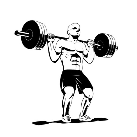 this is a vector illustration of squat exercise Illustration