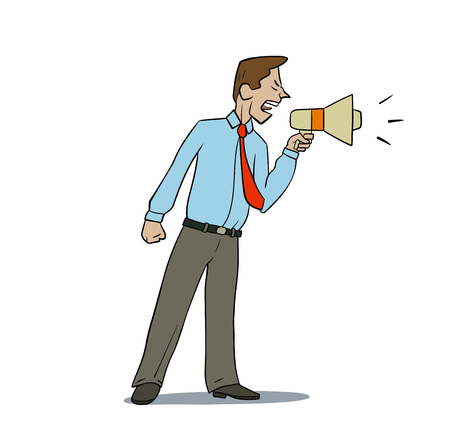 businessman using a megaphone: this is an illustration of angry manager Illustration