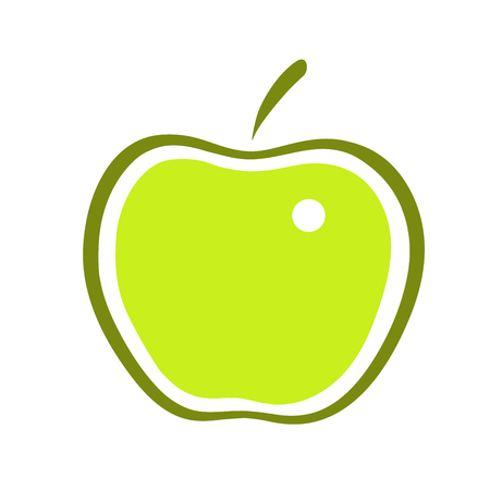 granny smith apple: This is a line art illustration of apple