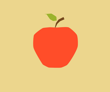 granny smith apple: This is a flat-color, angular apple