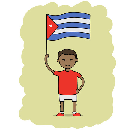 arms outstretched: This is a cartoon illustration of a boy holding Cuba flag Illustration