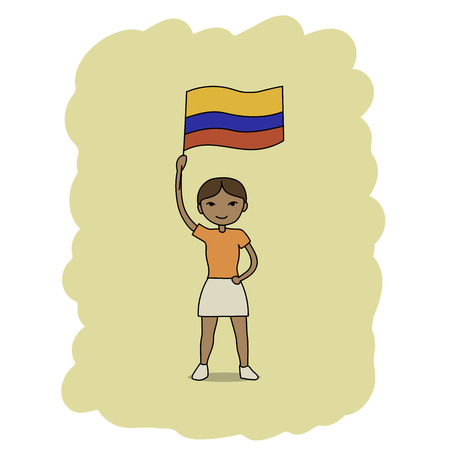 This is a cartoon illustration of a girl holding Colombia flag Vector