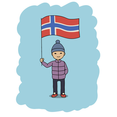 arms outstretched: This is a cartoon illustration of a boy holding Norway flag Illustration