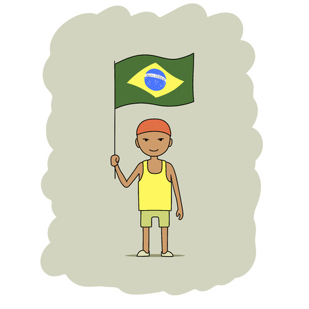 This is a cartoon illustration of a boy holding Brazil flag All letters are handwritten