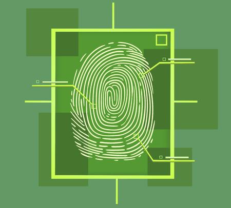 this is a hi tech fingerprint composition Stock Illustratie