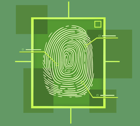 technology symbols metaphors: this is a hi tech fingerprint composition Illustration