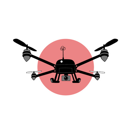 this is an illustration of quadcopter with camera Vector