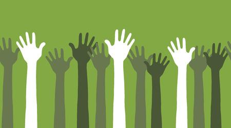 rallying: esto es una ilustraci�n perfecta horizontal de las manos en el aire
