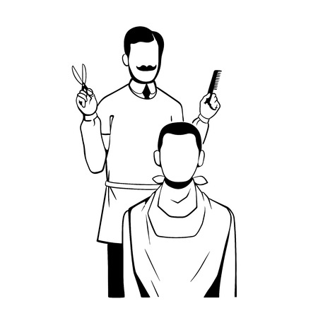 This is an illustration on barber theme Иллюстрация