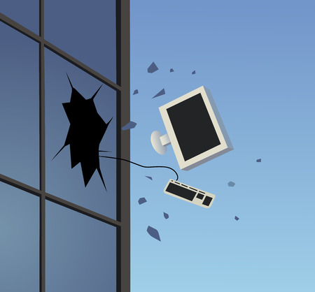 broken window: This is an illustration of disposing of pc Illustration