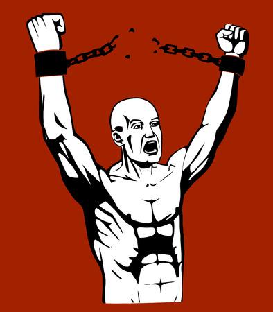 Esto es una ilustración de romper la cadena. En EPS usted puede cambiar fácilmente el fondo Foto de archivo - 32234657