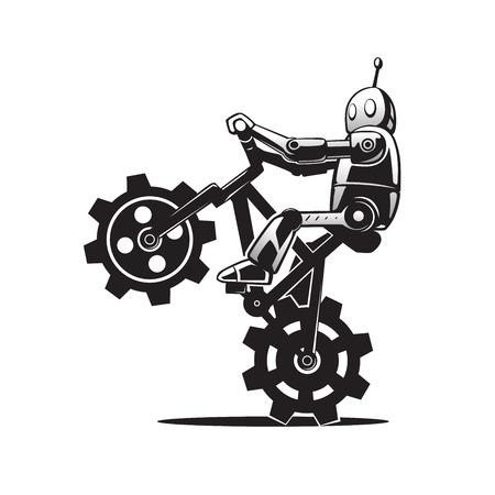 これは自転車にロボットのイラスト