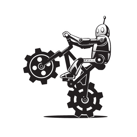 This is an illustration of a robot on bicycle Vector