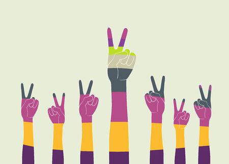 rallying: esto es una ilustraci�n de las manos en el aire Vectores
