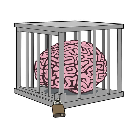 caged: This is an illustration of caged mind Illustration