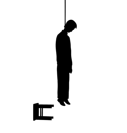 This is a vector illustration of hanged man silhouette