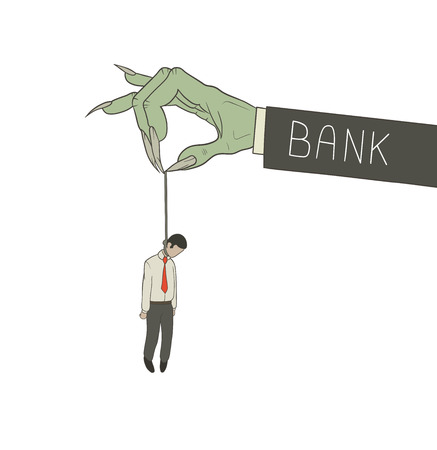 mani legate: Un uomo d'affari impiccato dalla banca. eps 10 Vettoriali