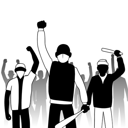 combative: This is an illustration of combative protesters
